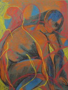 life drawing class, merseyside, near me, pastel of figure