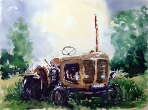 artclasses, near me, southport, liverpool, merseyside. painting by roy munday of an old rusting tractor in a field