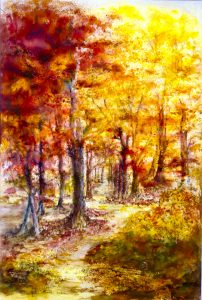 watercolour painting, autumn scene, done in the art class, sefton art group, liverpool, southport, ormskirk, merseyside