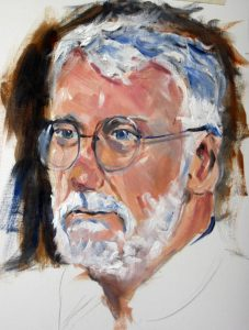 portrait class, beginners, done in acrylics, head of man, southport, formby on merseyside
