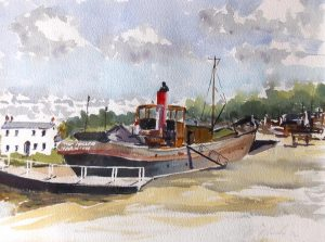 roy munday, artist, oil painting of the dock, sharpness to gloucester canal at saul junction