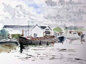 roy munday, painting of saul junction, sharpness to gloucester canal