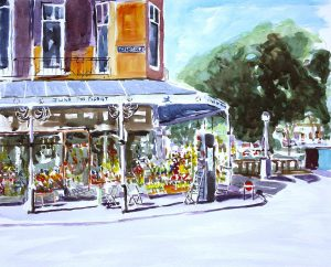 watercolour of june the florist, southport, merseyside, by artist roy munday, art tutor on merseyside and art teacher