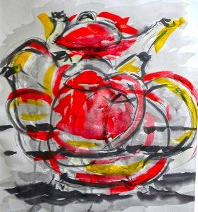 exerperimental painting by artist roy munday. Teaches art on merseyside, art classes
