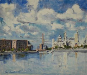 liver buildings, liverpool, merseyside, oil painting, artist roy munday