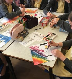 school workshop, art class, beginners, trinity st. peters school, formby, merseyside, children doing art