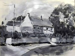 acrylic black and white painting, done in impressionistic style, beginners art classes, near me, liverpool, southport, preston, lancashire and merseyside