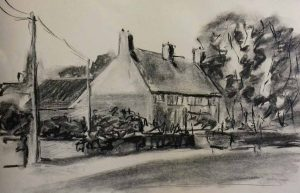 beginners art class, free drawing, gestural drawing, of cottages, pen & ink, beginners classes, liverpool, merseyside