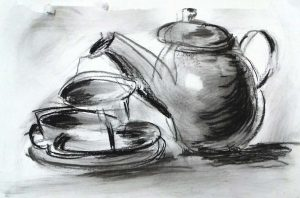 gestural drawing and painting, example of member of the sefton art group, image of teapot and cup