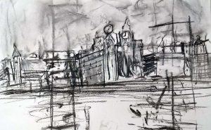 an experimental drawing of liveprool waterfront, done by a beginner in the art class, working towards semi-abstraction