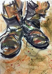 beginners class, piece of art work, pair of old boots, done in mixed media, gestural drawing and paint, art class done in southport, merseyside