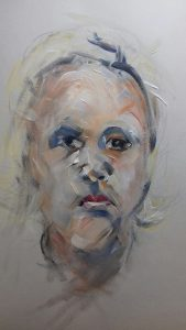 head portrait study of young girl, by artist roy munday of the sefton art group, liverpool, merseyside