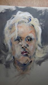 portrait of child's head, working expressively in paint, acrylics, by artist roy munday, runs art classes on merseyside, liverpool and southport