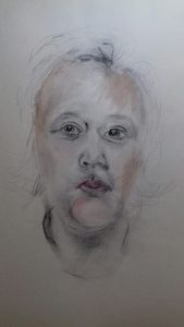 portrait study, gestural drawing and painting, in acrylics, done on Merseyside beginners art class