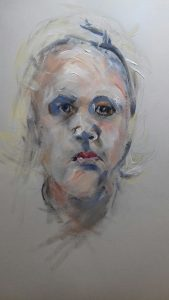 portrait study by artist roy munday, working gestrualy, art classes on Merseyside