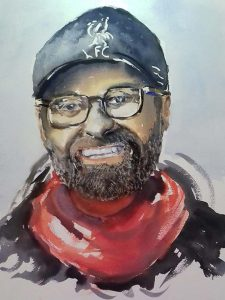 y Roy Munday. Watercolour of Liverpool football club manager Jurgen Klopp.
