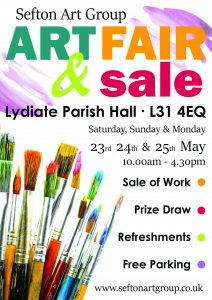 art exhibition of members paintings, sefton art group, at lydiate parish hall, may 23rd, 24th & 25th, 2020