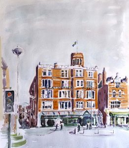 painting by watercolour artist, roy munday, Scarisbrick hotel, Southport, Merseyside