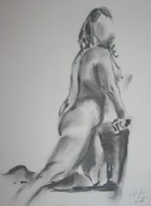 charcoal nude figure, drawings, sketches, paintings, art classes for beginners,