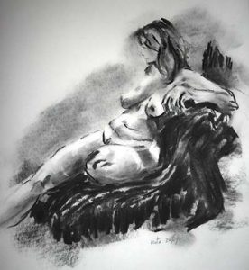 charcoal drawing of a nude, life class drawing, liverpool, learn life drawing, figurative art, nude drawing, painting, southport, merseyside, preston, lancashirer,