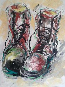 watercolour of pair of boots, online art class, near me, merseyside, lancashire, virtual art classes,