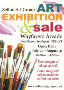 art exhibition, wayfarers arcade, southport, artists selling, original art, but paintings, direct from artists